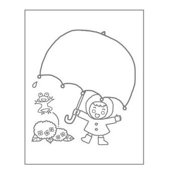 傘タイトル枠(主線・グレー)/梅雨/夏の季節・行事/こどものぬりえ【ぬりえプリント】