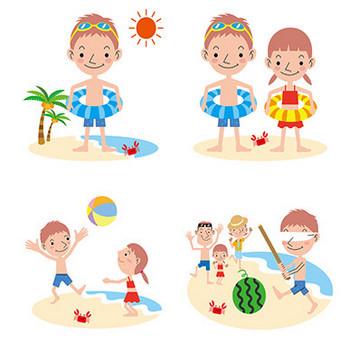 【商用無料】海水浴を楽しむ子ども・家族のフリーイラスト素材