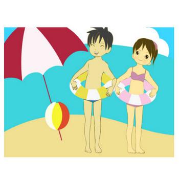 海水浴イラスト - 浮き輪・ビーチボール子供の無料素材 - チコデザ