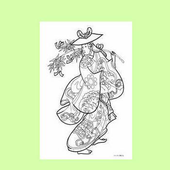 鳥居清信の笹飾り持ち踊る女性の塗り絵の下絵、画像