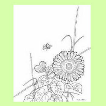 2017年8月の向日葵と蝶のカレンダー塗り絵の下絵、画像