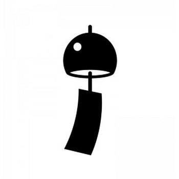 風鈴のシルエット | 無料のAi・PNG白黒シルエットイラスト