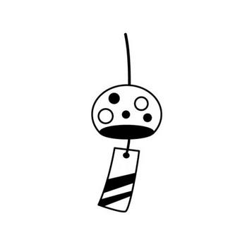 風鈴の白黒イラスト | かわいい無料の白黒イラスト モノぽっと