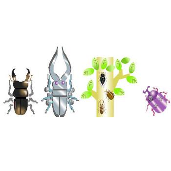 昆虫素材★素材屋じゅん★昆虫イラスト素材フリー・昆虫背景素材・画像絵アイコン・クワガタやカブトムシ