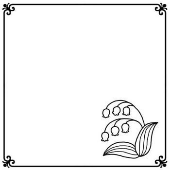 スズラン(白黒)/いろいろな花モチーフの無料イラスト/枠・ふきだし素材