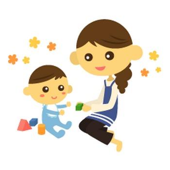 お母さんと赤ちゃん - イラスト素材 | 商用利用可のベクターイラスト素材集「ピクト缶」