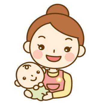 赤ちゃんを抱っこする保育士(ベビーシッター)のイラスト | かわいい女性の無料イラスト『Woman illust』