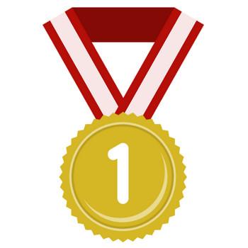 金メダル・銀メダル・銅メダルのフラットイラスト<数字入り> | 無料フリーイラスト素材集【Frame illust】