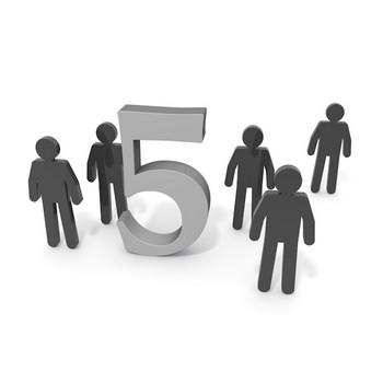 五人|数字の5 - ピクトグラム 無料イラスト