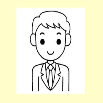 表情1/社員・男性/販売・ビジネス/無料イラスト【みさきのイラスト素材】
