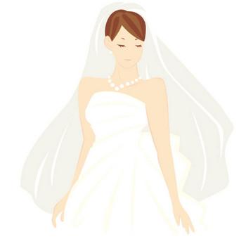 [無料イラスト] ウェディングドレス姿の花嫁 - パブリックドメインQ:著作権フリー画像素材集