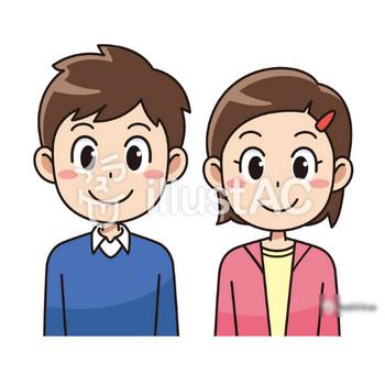 笑顔の小学生の男子と女子イラスト - No: 112112/無料イラストなら「イラストAC」