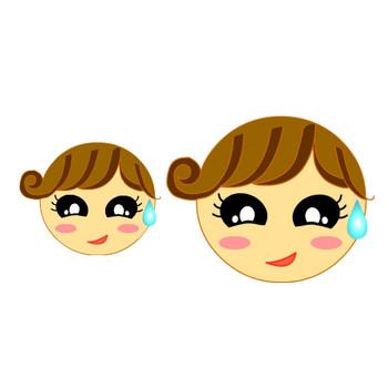 無料イラスト素材屋 「SATUKI晴れ」★女の子の顔*笑い顔*泣き顔*困り顔*怒り顔*笑顔*ウィンク*ビックリ顔