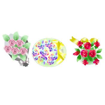 バラ薔薇ばらのイラスト素材★素材屋じゅん背景素材・薔薇のアイコンフリー素材画像絵