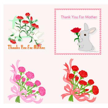 フリー素材・母の日のイラスト・鳥、うさぎ、花束のイラスト