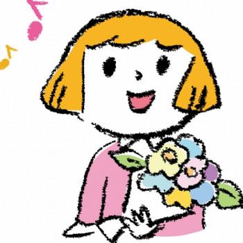 花束を持つ女性のイラスト - 無料イラストのIMT 商用OK、加工OK