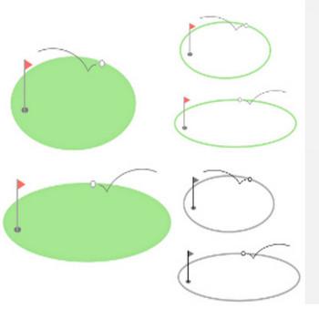 » ゴルフのフレームイラスト / ゴルフコンペに!グリーンとピン(旗竿)とホールとボール   可愛い無料イラスト素材集