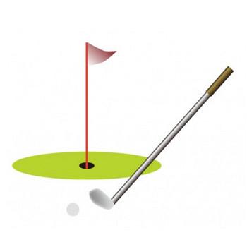 ゴルフのグリーンとクラブのイラスト素材   イラスト無料・かわいいテンプレート