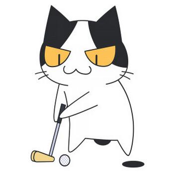 パターでボールを打つゴルフ猫【無料イラスト・フリー素材】