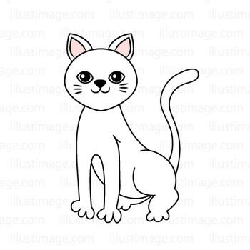 白い猫の無料イラスト素材|イラストイメージ