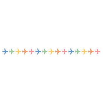 かわいい飛行機のライン飾り罫線イラスト | 無料フリーイラスト素材集【Frame illust】