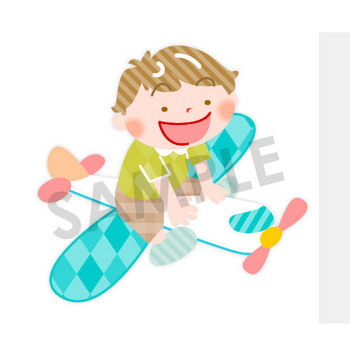男の子が飛行機に乗って空を飛ぶイラスト|保育園・幼稚園に使える無料イラスト素材ダウンロード