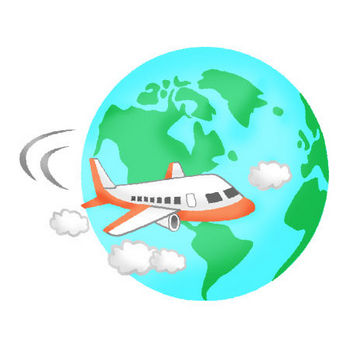 飛行機と地球 | フリーイラスト素材 イラストラング