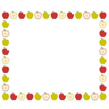 [果物・フルーツ]林檎(リンゴ・アップル)のフレーム飾り枠イラスト | 無料フリーイラスト素材集【Frame illust】