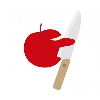 包丁でりんごの皮を剥いているイラスト | イラスト無料・かわいいテンプレート
