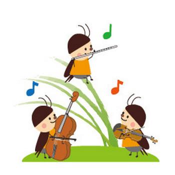 虫の音楽会のイラスト・無料イラスト素材