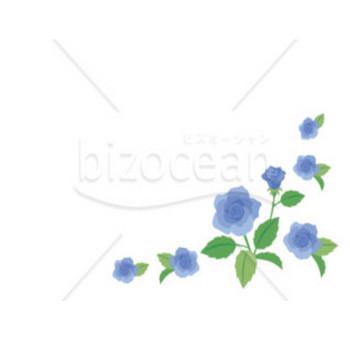 ブルーのバラ柄のイラスト|テンプレートのダウンロードは【書式の王様】