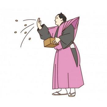 節分にお相撲さんが豆まきをしているイラスト素材 | イラスト無料・かわいいテンプレート