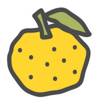 柚子(ゆず)の可愛いアイコンイラスト   可愛い絵文字アイコンイラスト『落書きアイコン』