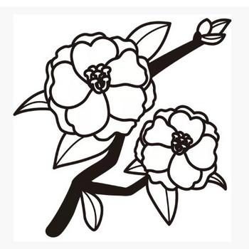 植物 サザンカ(モノクロ) – 無料で使えるイラスト素材・PowerPointテンプレート配布サイト【素材工場】