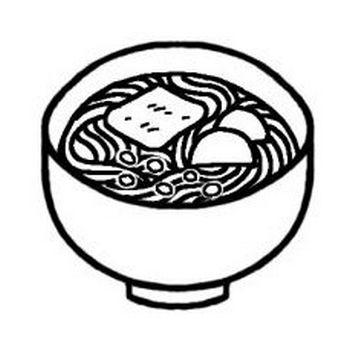 うどん/丼(どんぶり)/料理/ミニカット/無料【白黒イラスト素材】