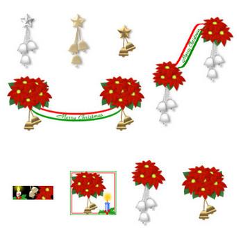 冬の花・クリスマスの素材-ポインセチア(イラスト・アイコン) HPフリー素材