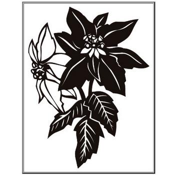 ポインセチアのイラスト・画像No.3『ポインセチア・白黒』/無料のフリー素材集【百花繚乱】