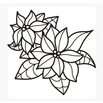 植物 ポインセチア(モノクロ) – 無料で使えるイラスト素材・PowerPointテンプレート配布サイト【素材工場】