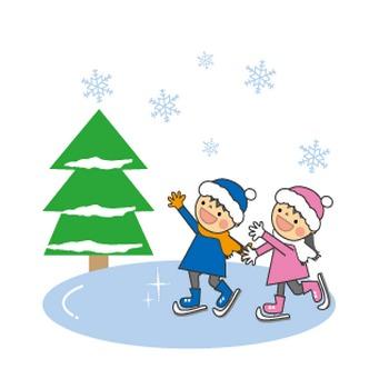 冬(雪・そり遊び・スケート・雪だるま・雪合戦)のイラスト/無料イラスト