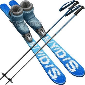 スキー用具のイラスト・条件付フリー素材集