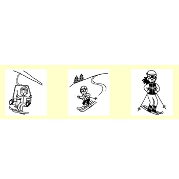 雪のスポーツ1/スポーツ/無料イラスト【白黒イラスト素材】