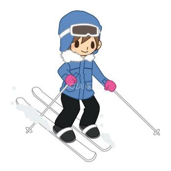 楽しそうにスキー中の男性 無料スポーツイラスト | 素材Good