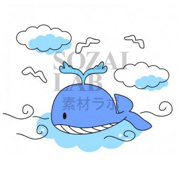 泳ぐクジラのイラスト素材 | 無料イラスト素材|素材ラボ