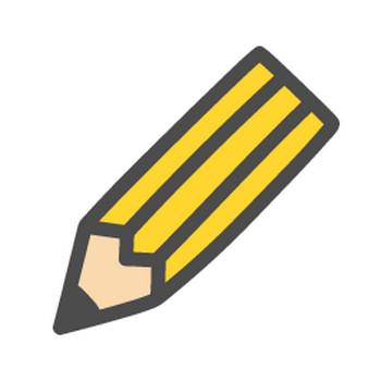 鉛筆マーク(えんぴつ)のかわいい手書き風イラストアイコン | 可愛い絵文字アイコンイラスト『落書きアイコン』