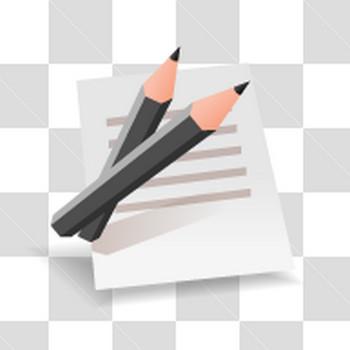 黒い鉛筆とメモ紙のアイコン風フリーイラスト素材