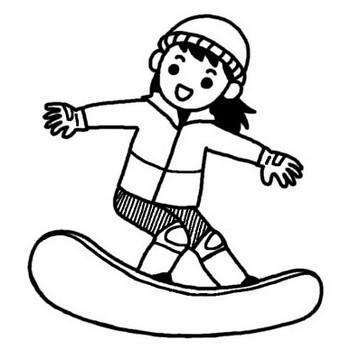 スノーボード1/雪のスポーツ/人物/無料【白黒イラスト素材】