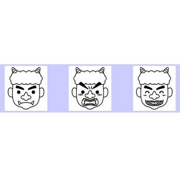 節分1/冬の季節・2月の行事/無料イラスト【白黒イラスト素材】