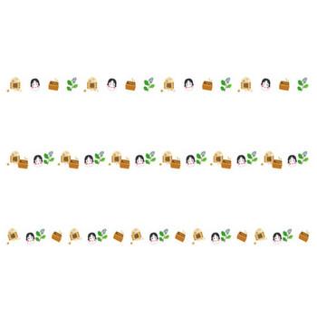 お多福と柊鰯の節分の罫線イラスト | 無料の線・ライン素材 飾り罫線イラスト.com
