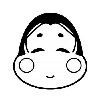 お多福さんの白黒イラスト | かわいい無料の白黒イラスト モノぽっと