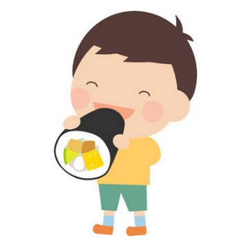 [節分イラスト]恵方巻き(えほうまき)を丸かぶりする子供 | 無料フリーイラスト素材集【Frame illust】